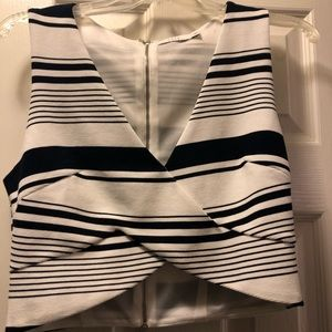 Lush crop top (navy and white striped)